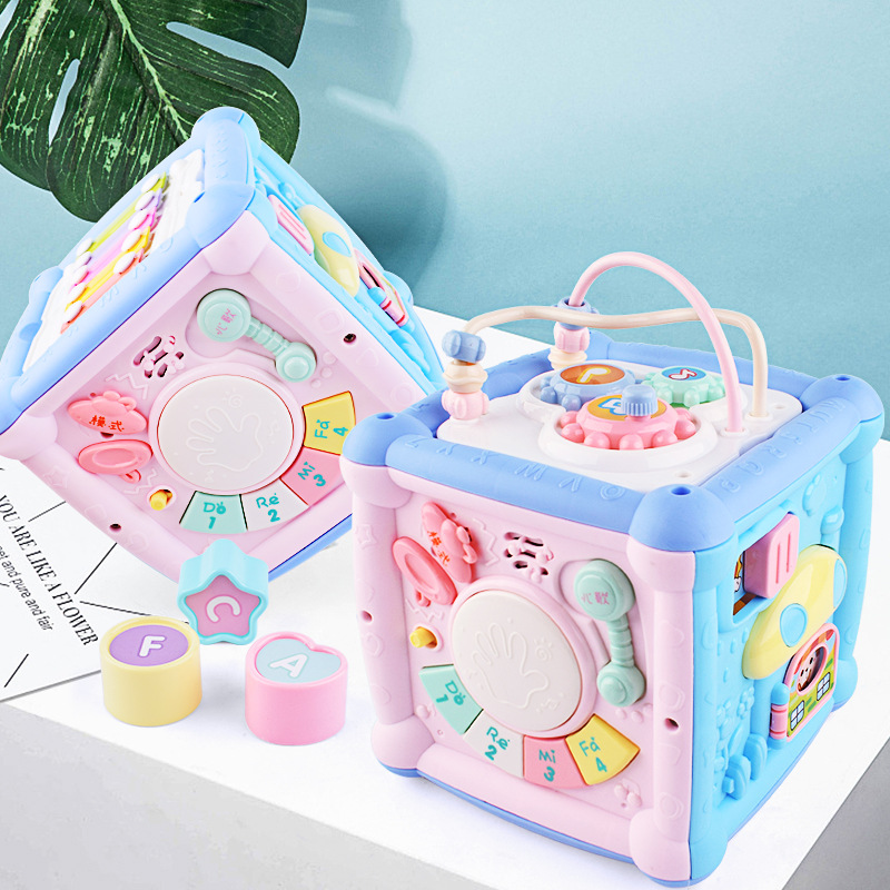Multifunctional Musical Toys Toddler Baby Box Music Piano Activity Cube Geometric Blocks Sorting Early Educational Toys Gifts