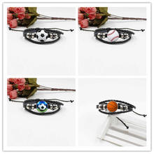 Cross-border new accessories Football crystal glass creative woven bracelet