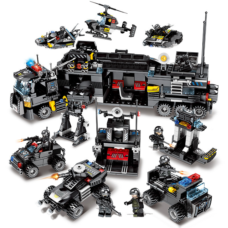 695Pcs Enlighten Truck Building Blocks Sets Ship Vehicle Technic Bricks Toys For Children Aircraft Tank Combat Force Figures Toy