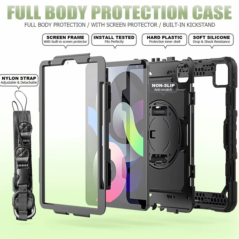 Silicone Air Duty Screen Heavy with Kickstand Protective 4th iPad Film Generation For Case