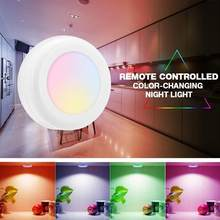 Cabinet Light Wireless Remote Controlled Color-Changing Night Light RGB LED Under Cabinet Light Holiday Party Kitchen Wall Lamp