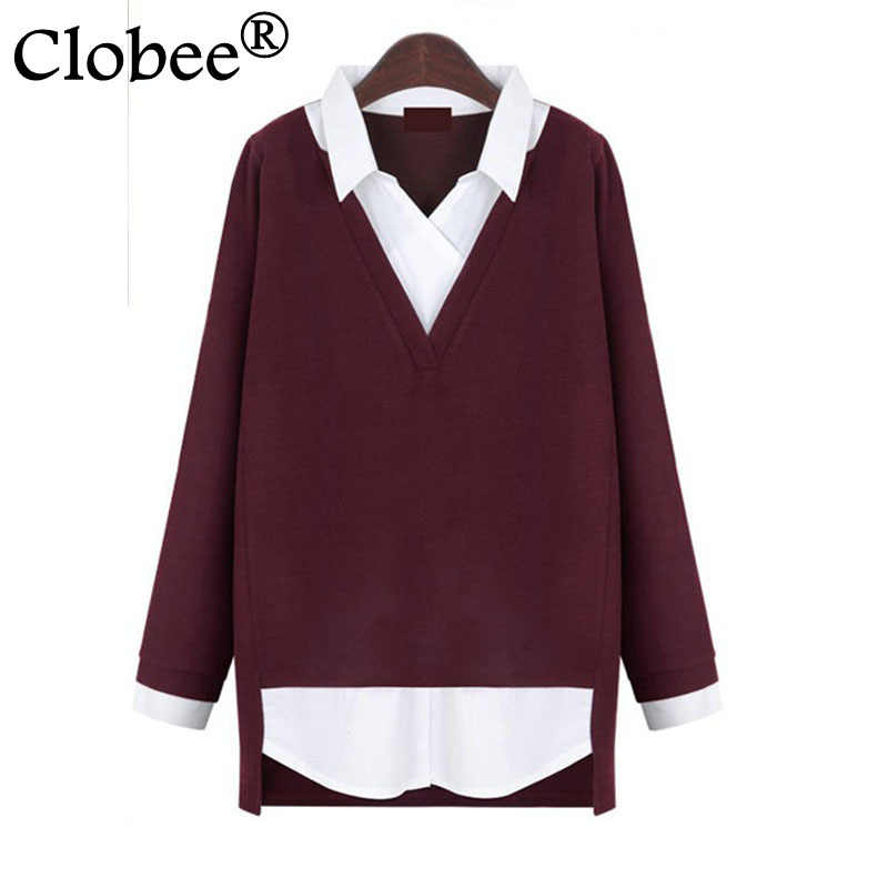 blusas de manga longa large Size Shirts elegant 2019 women Clothing Autumn and Winter Women blouses Oversized V-Neck Tops