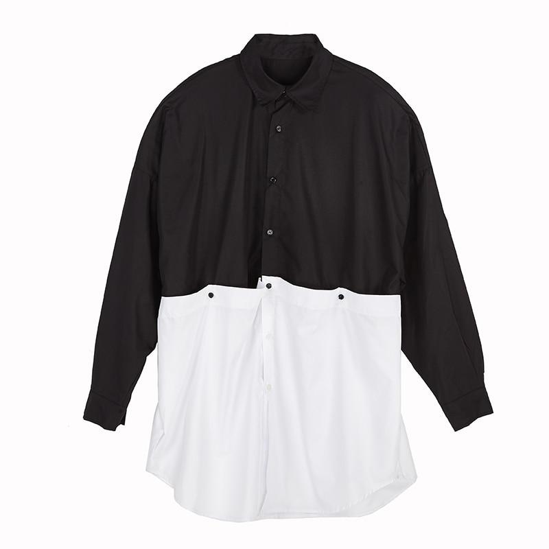 Men Darkness Gothic Oversize Shirt Catwalk High Street Owen RO Tees Outwear Club Chemise Homme Japanese Yohji Style Black Shirt