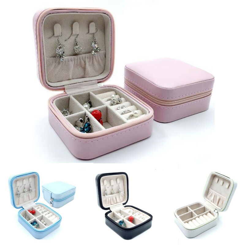 Travel Jewelry Storage Case Solid PU Leather Earrings Rings Zipper Box Organizer