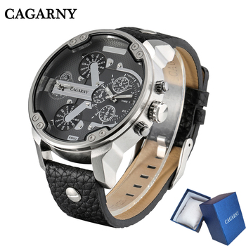 Cagarny Mens Watches Dual Display Black Leather Quartz Wrist Watch Men Sport Male Clock Man Military Relogio Masculino 6820 men watches cagarny rose gold case men s wristwatch business male clock quartz watch dual time zones military relogio masculino