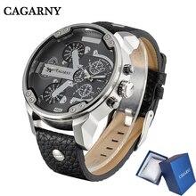 Cagarny relógio de pulso de quartzo de couro preto dos homens do esporte masculino relógio masculino homem militar relogio masculino 6820Relógios de quartzo