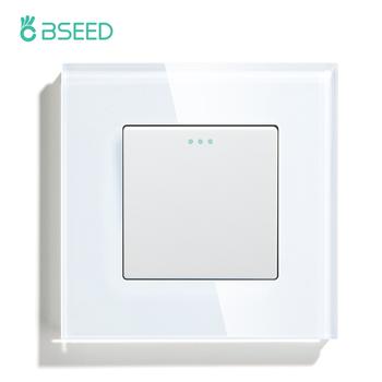 Przełączniki BSEED przycisk 1 2 3Gang 1 2 Way Panel ze szkła kryształowego przełączniki mechaniczne Standard ue biały czarny złoty tanie i dobre opinie CN (pochodzenie) ROHS Przełącznik Wciskany 86x 86 x 35 mm 110V-250V -20℃~+70℃ Push Button