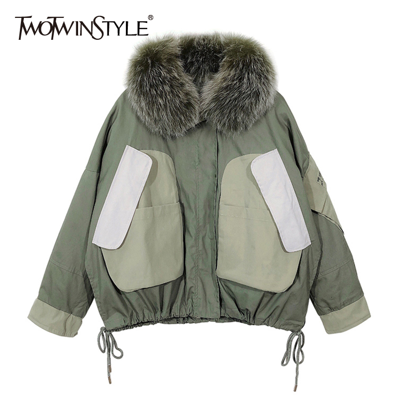 TWOTWINSTYLE Patchwork Fur Hit Color Cotton Coat Women Long Sleeve Large Size Thick Worm Parka Female 2020 Winter Fashion New