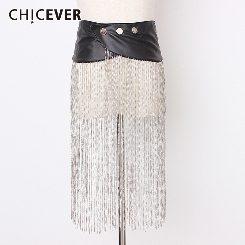 CHICEVER Summer Long Chain Tassel Patchwork Belts Female Fashion New Vintage Dresses Accessories PU Leather Belt Women Korean