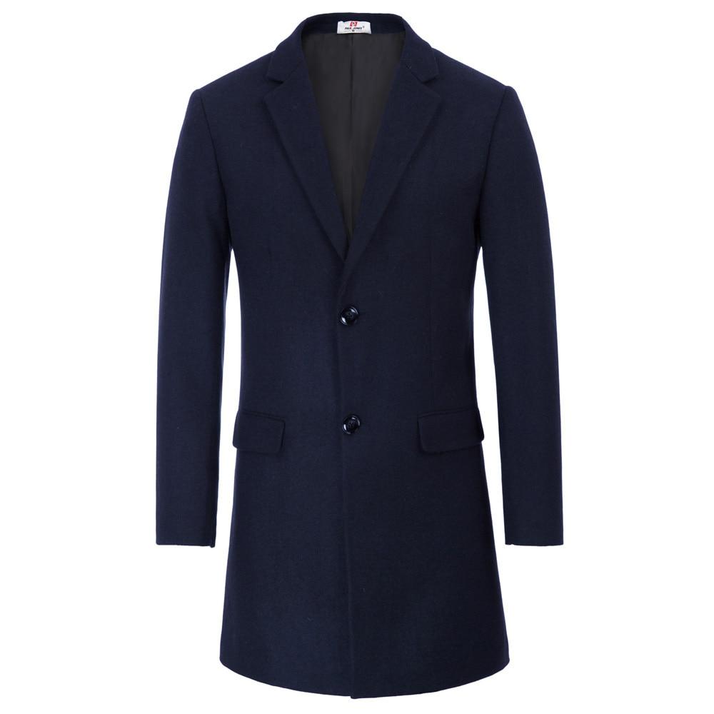 Men Coat Winter Blends Warm-Pockets Wool Autumn Male Long Single-Breasted Fashion Navy-Blue