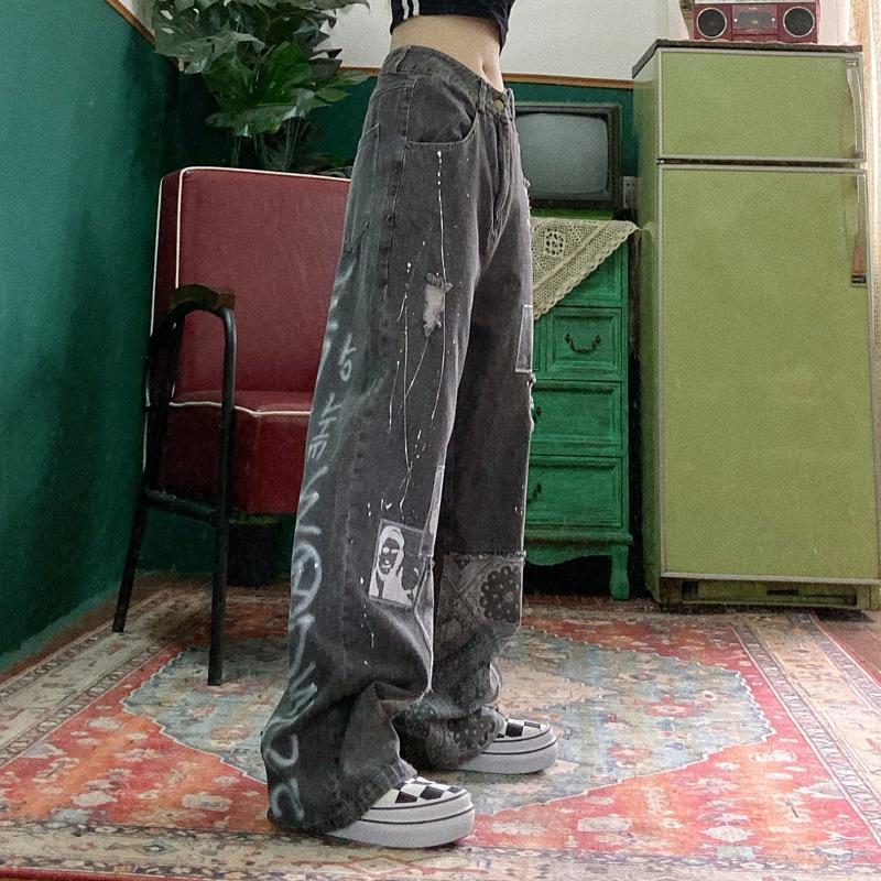 Повседневные женские свободные винтажные женские брюки, женские мешковатые джинсы в стиле Харадзюку, женские брюки, повседневные забавные ...