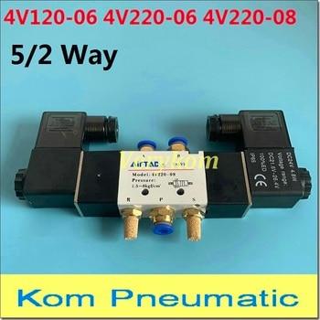 Airtac-Válvula Solenoide doble de 5 vías, neumático, 4V220-08, 4V120-06, 5 puertos, 2 posiciones, 12V, CC, 24V, CA, 110V, 220v, doble cabezal, 24VDC