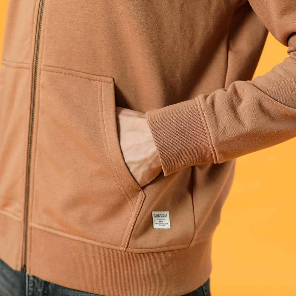 SIMWOOD 2020 jesień zima nowa bawełniana bluza z kapturem Zip-Up mężczyźni podstawowe bluzy z kapturem wygodne kurtki Jogger odzież wierzchnia