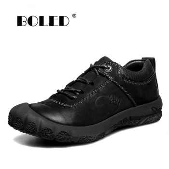 High Quality Genuine Leather Men Shoes Comfortable Casual Shoes Flats Waterproof Soft Lace Up Warking Shoes Men genuine leather men oxford shoes retro style lace up carving bullock casual men shoes high quality brand leather footwear 2018
