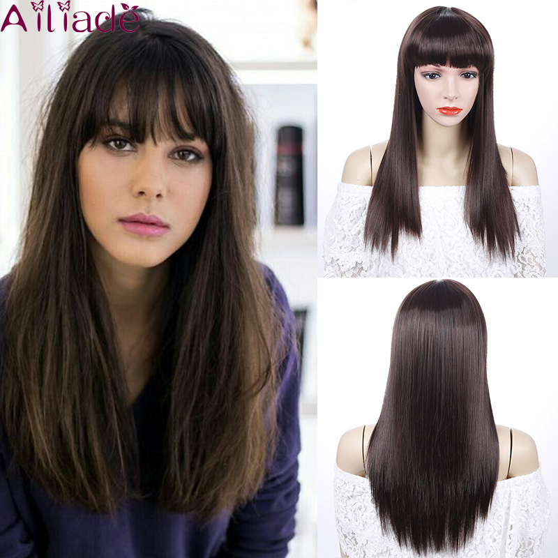 AILIADE Fashion Women Synthetic Hair Full Bang Long Straight With Bangs Wig High Temperature Fiber Female Fake Hair Cosplay