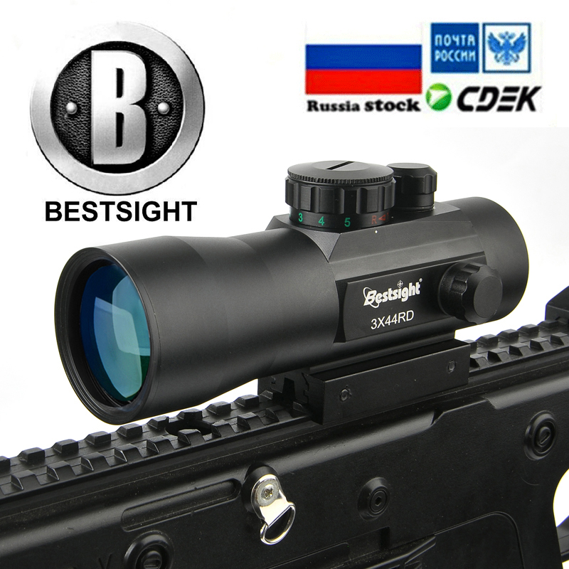 B BESTSIGHT 3X44 Holographic Sight Red Dot Sight Scope Tactical Riflescope Fit 11mm/20mm Rail Mount Hunting Scopes