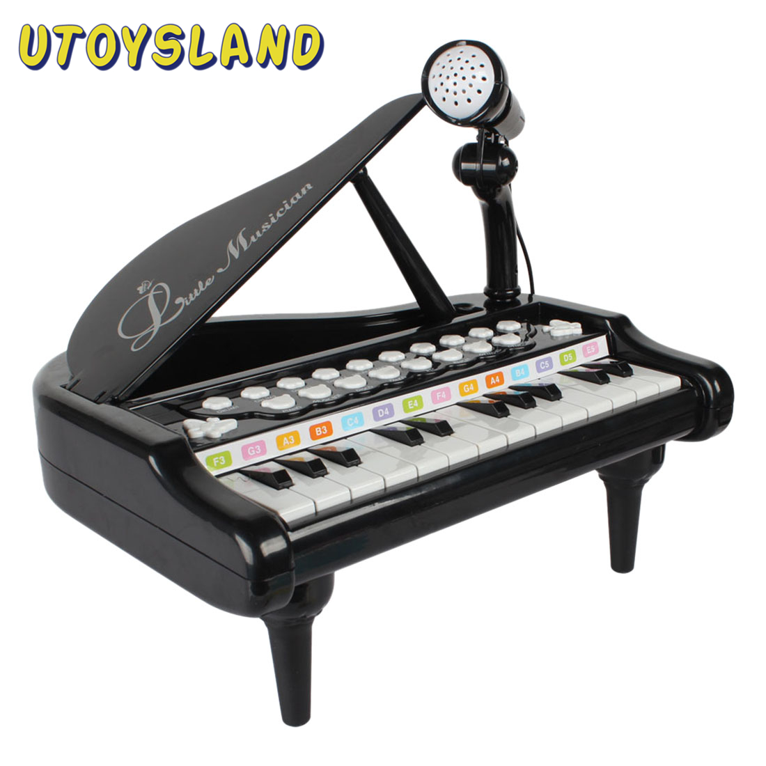 Kids 24 Keys Piano Mini Music Gift Children Musical Instrument Playing Toy Set With Microphone For Children Gifts - Black Pink