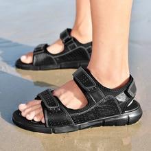 Yaz hakiki deri düz erkekler sandalet plaj açık klasikleri rahat spor açık ayakkabı Sandalias Hombre sandalet rahat