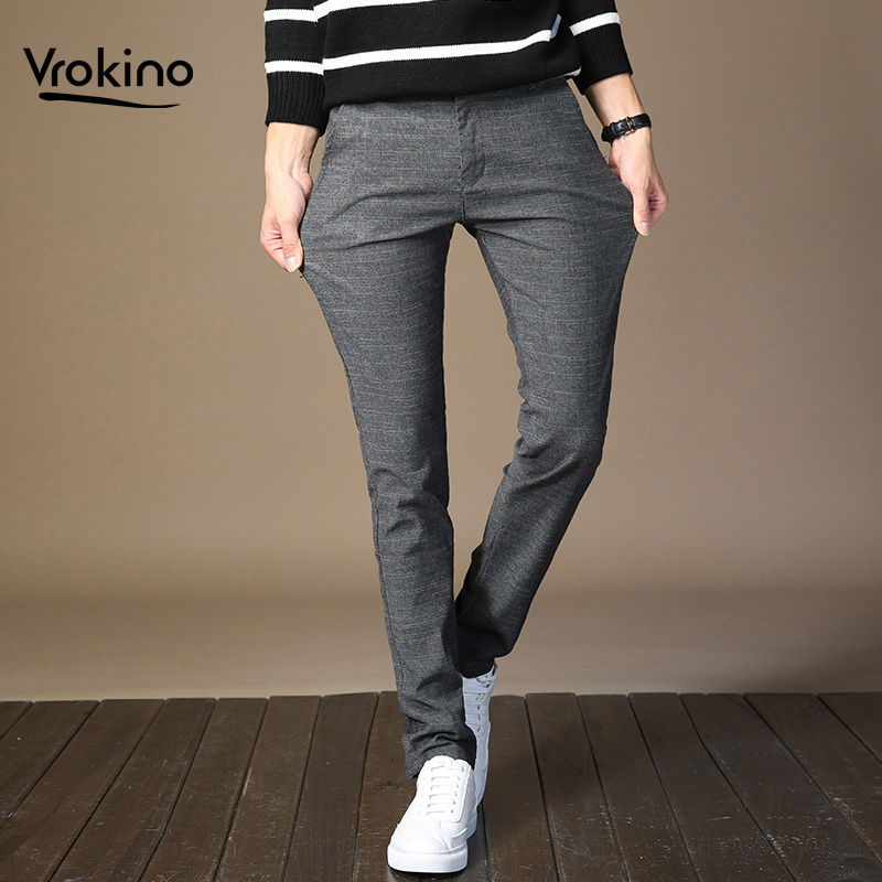 2020New Inventory In  Stylish Men's Casual Slim Trousers Men's Stretch Slim Slacks Black Grey Blue Track Pants