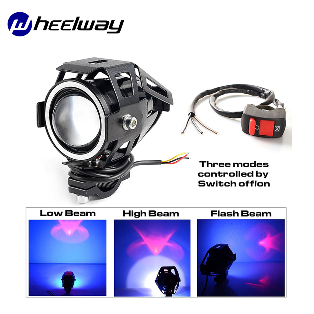 Wheelway Angel Eye Motorcycle Light 2 piece 12V-80V Modified Headlight Super Bright Fog Light U7 Laser LED Head Light