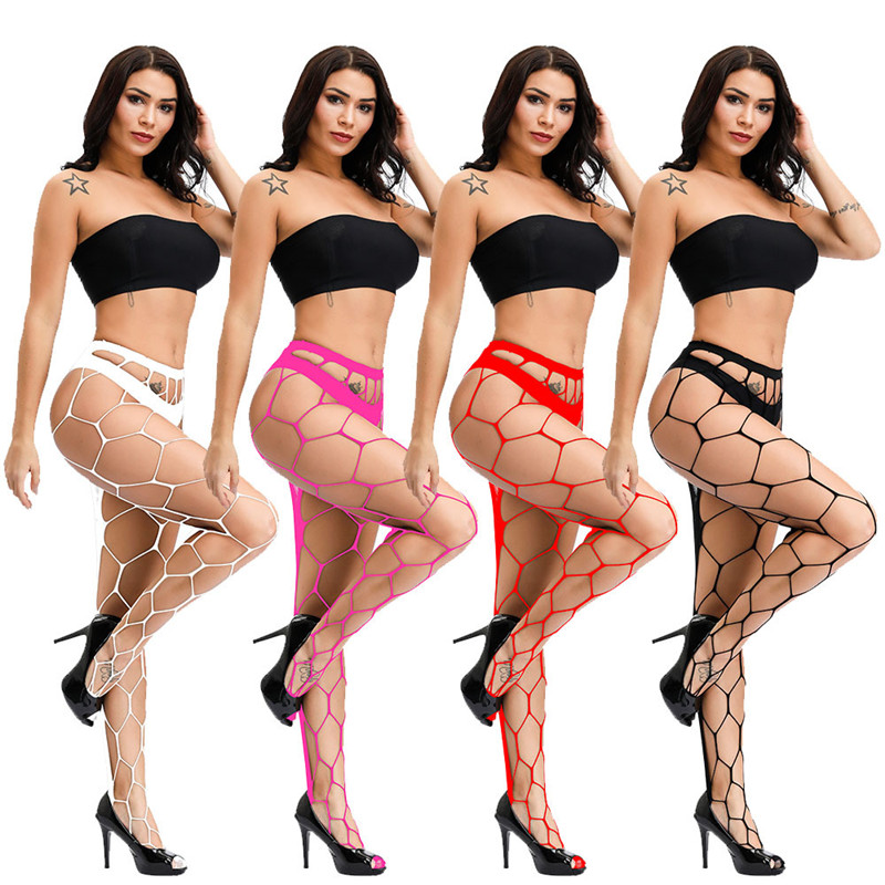 4 Color Hollow Out Sexy Pantyhose Black Mesh Stockings Jeans Stretch Bottoming Stocking Fishnet Stockings Tights