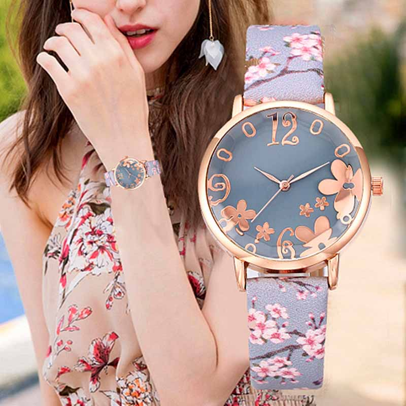 Explosion Models Beautifully Printed Flower Design Watch Ladies Fashion Casual Leather Watch Ladies Watch Clock Quartz Watch