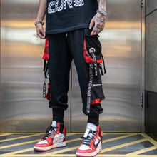 Streetwear Cargo Pants Men Hip Hop Pants With Zippers Loose Joggers Ankle length Trousers Black Pocket men ankle length loose cargo pants solid black color casual jogger side all match pocket elastic waist trousers spring