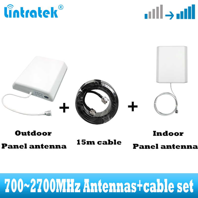 2G 3G 4G 700~2700MHz Panel Indoor Outdoor External Antenna 15m Cable Accessorie For GSM WCDMA Mobile Cell Phone Signal Booster