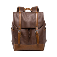 Fashion Pu Leather Backpacks Vintage Casual Notebook Backpack Man And Women Student School Bags Shoulder Bags Backpack Light Cof