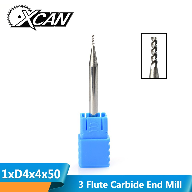 XCAN 1pc 1mm Diamter 3 Flute End Mill 4mm Shank Carbide Milling Cutter For Aluminum Cutting CNC Router Bit Engraving Bit