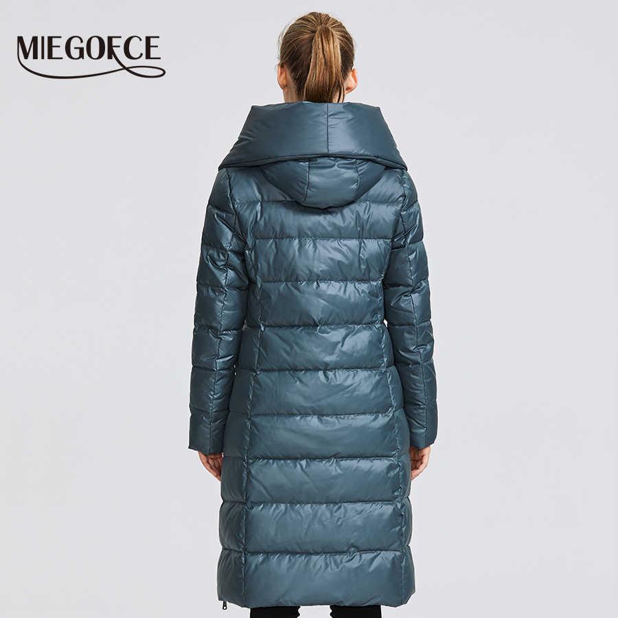 Miegfce 2019 nueva colección de Invierno para mujer chaqueta de invierno para mujer abrigo diseño insólito cosido de dos materiales Parkas para mujer