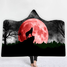 Hooded Blanket 3D Printed Wolf For Adults Childs Sherpa Fleece Hoodie Microfiber Throw Home Drop Shipping