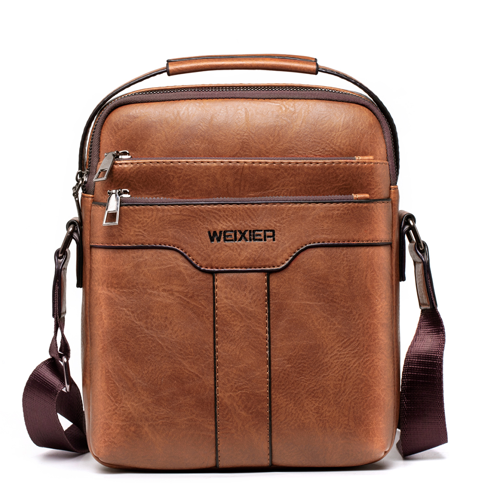 Casual Men Bag for 10.5 Inch iPad Handbag Men Shoulder Bags for Man Messenger Bag Business Male Crossbody Bags Travel PU Leather title=