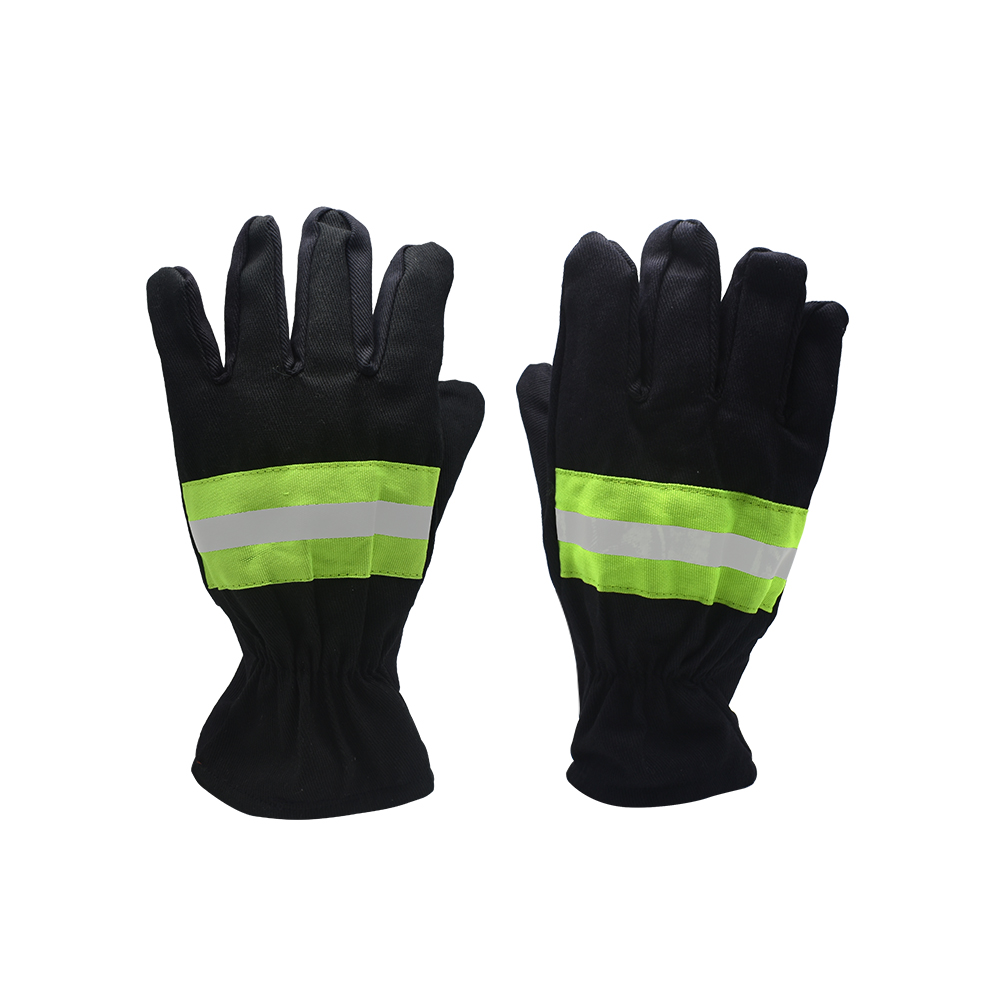 Fireproof Gloves Wear-resistant Non-slip Safety Gloves Black Reflective Belt Fire Gloves Firefighters Safety Protection Products