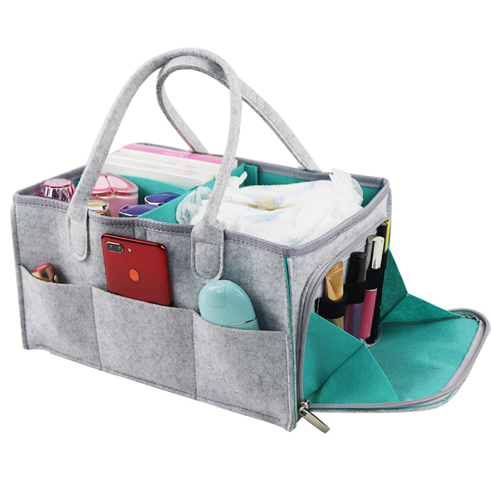Storage Organizer Nappy Holder With Compartments Felt Portable Bag Changing Table Nursery Baby Diaper Caddy Car Travel Foldable
