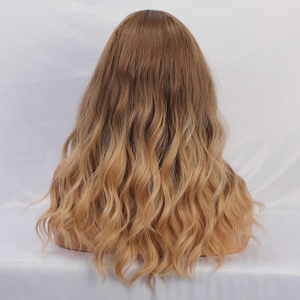 Blonde Eenhoorn Lange Water Wave Synthetische Pruik Ombre Lichtbruin Valse Haar Pruiken Met Pony Dagelijkse Cosplay Valse Haar Pruik voor Vrouwen
