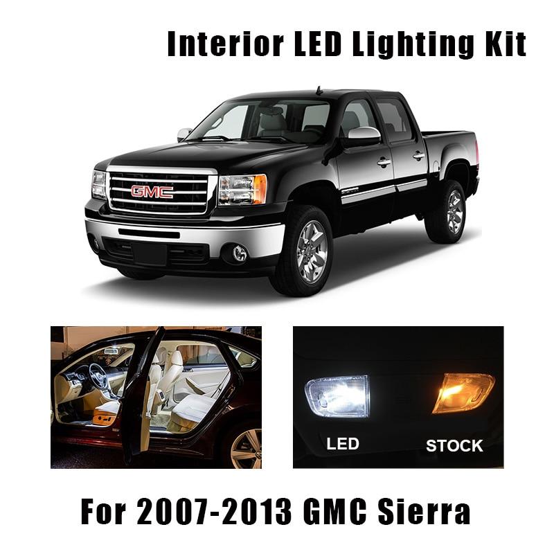10pcs White LED Interior Light Bulbs Kit Fit For GMC Sierra 2007 2008 2009 2010 2011 2012 2013 Map Dome Trunk License Lamp