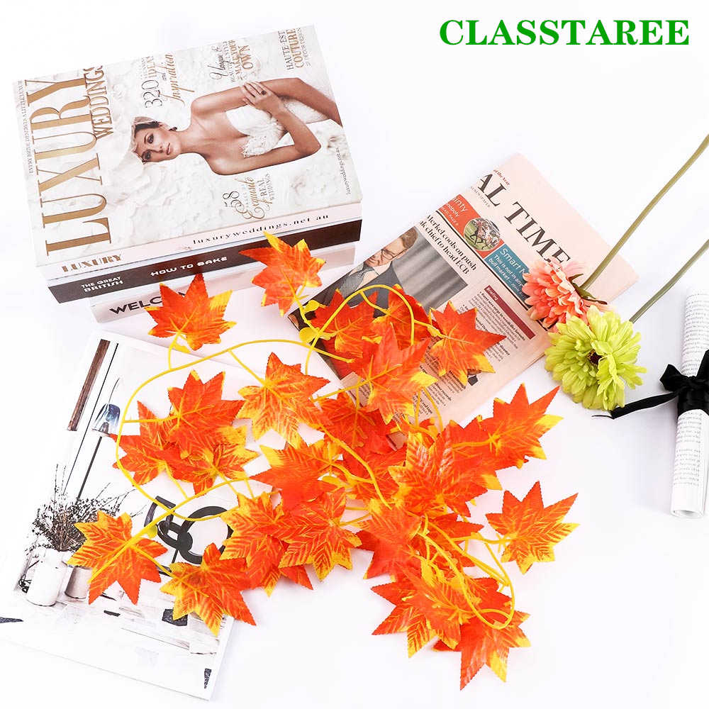Cute 2.4m 1pcs Home Decoration Fall Leaves Garland Maple Leaf Vine Fake Foliage
