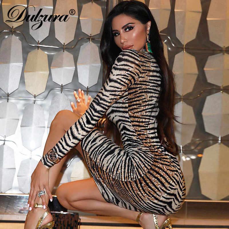Dulzura 2019 Осень Зима Женское миди Вечернее Платье облегающее праздничное с принтом тигра сексуальное с длинным рукавом элегантное плюс размер офисная одежда