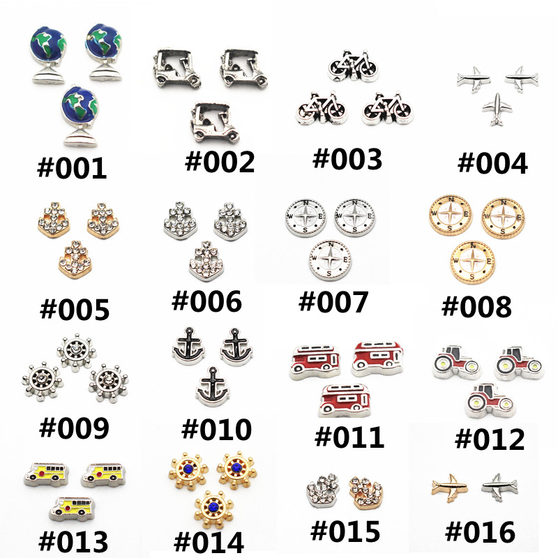12pcs/lot boat anchor Charms compass Floating Charms for Floating Memory charms Lockets DIY Jewelry
