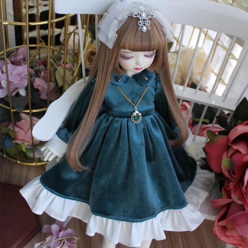 BJD Dress Doll Clothes Dress + Hair Decoration + Necklace For 1/6 1/4 1/3 BJD Blyth Doll Dress Doll Accessories