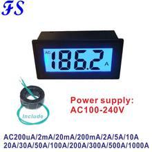 220 v ac 50a 100a 200a 500a 1000a com medidor do amperímetro da corrente do ct tensão de alimentação da c.a. 200ua 200ma 2a 10a do amperímetro da c.a. 200ua 200ma