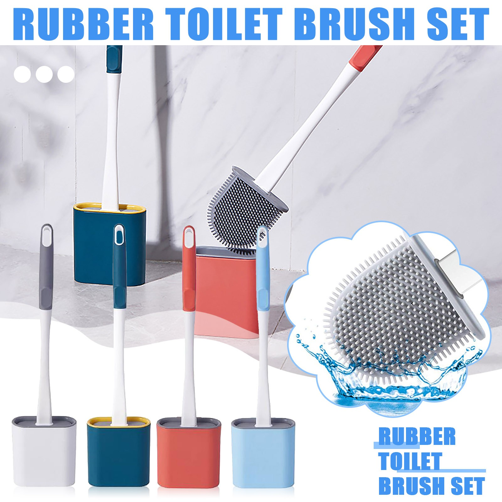 Wall-Mounted Flexible Silicone Bathroom  Scrub And Stand Toilet Brush Set Brush With Quick Drying Holder Set for Bathroom