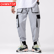 2020 Multi Pockets Color Block Patchwork Cargo Harem Pants Mens Casual Joggers  Trousers Harajuku Streetwear Hip Hop Men Fashion