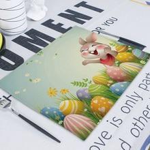Easter Eggs Napkin Cute Bunny Flax Tea Towel Table Napkins   Party Home Teacup Napkins Kitchen Cotton Napkin