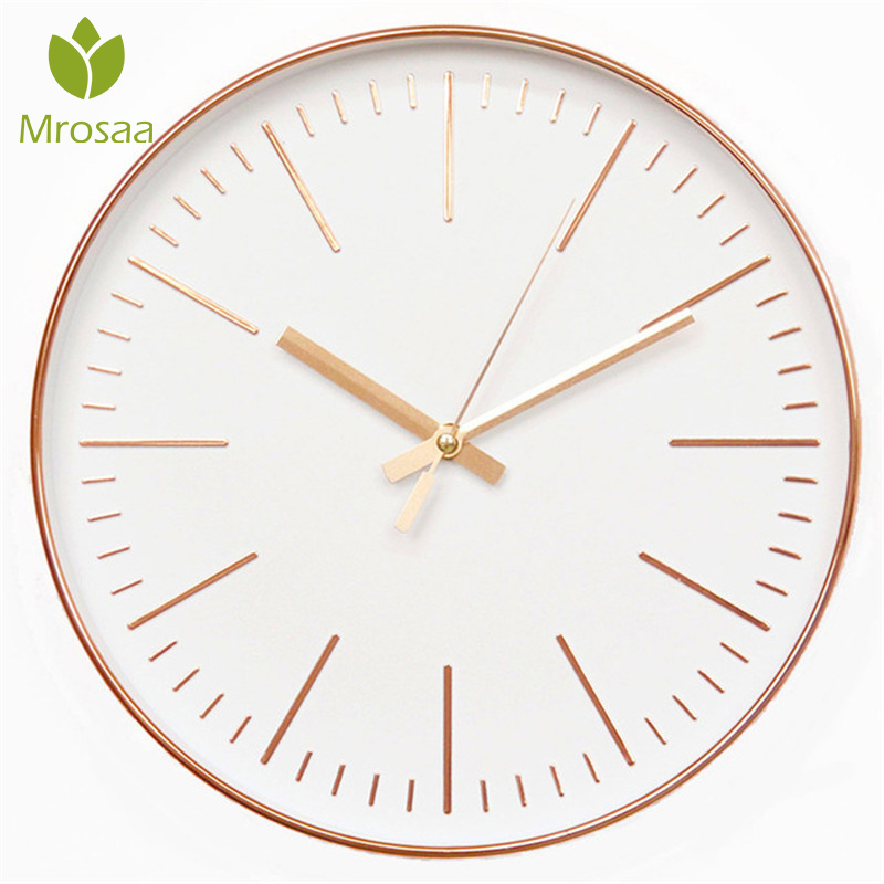 2019New Nordic Style Fashionable Simple Silent Wall Clocks For Home Decor Rose Gold Type Wall Clocks Quartz Modern Design Timer