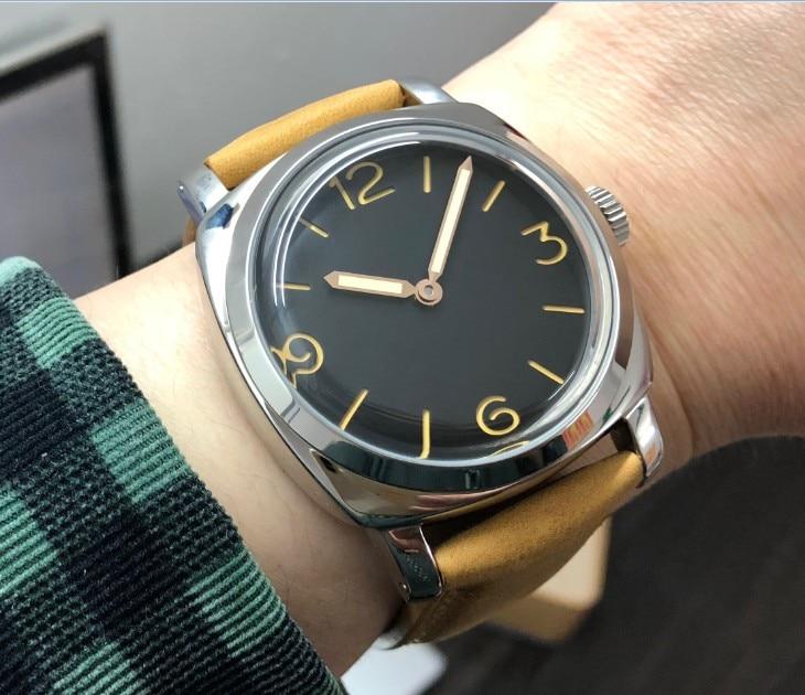 47 มม.GEERVO Light สีกาแฟหรือสีดำ dial เอเชีย 6497 17 jewels กลไกการเคลื่อนไหวนาฬิกาผู้ชาย gr252 8-ใน นาฬิกาข้อมือกลไก จาก นาฬิกาข้อมือ บน   1