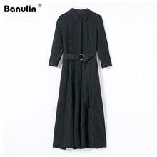 Banulin Winter Women Long Sleeved Black Maxi Dress Vetement Femme 2019 Runway Striped Party Vestido Longo Robe