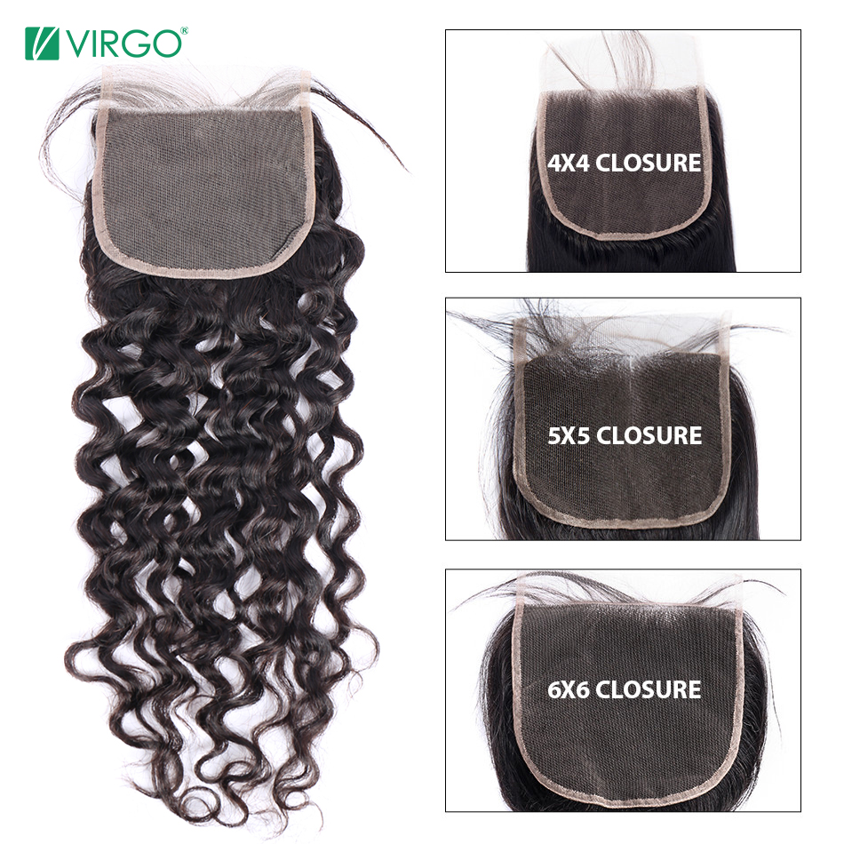 Swiss Lace Closure Human-Hair Water-Wave Can-Be-Restyled Virgo Volys Natural-Color 5X5 title=