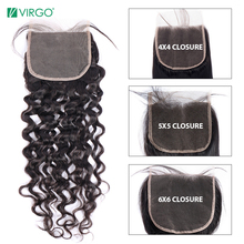 Lace Closure Human-Hair Water-Wave Can-Be-Restyled Natural-Color Virgo Swiss 4x4 5X5